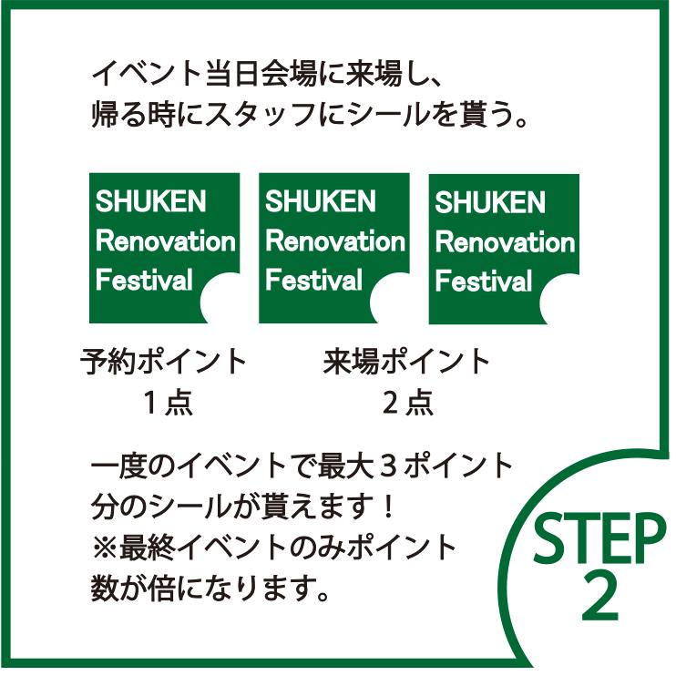 STEP2 イベント当日会場に来場し、 帰る時にスタッフにシールを貰う。