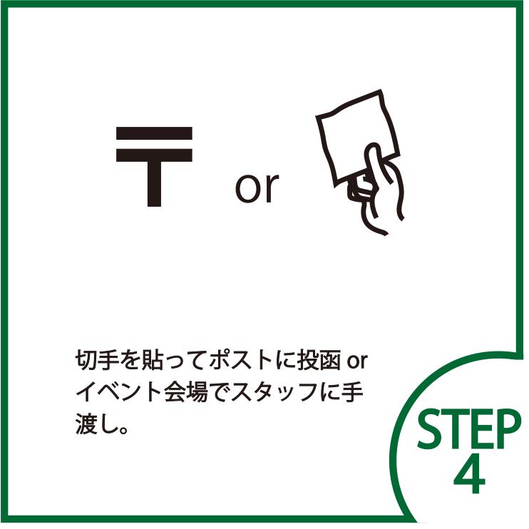 STEP4 切手を貼ってポストに投函or イベント会場でスタッフに手渡し。