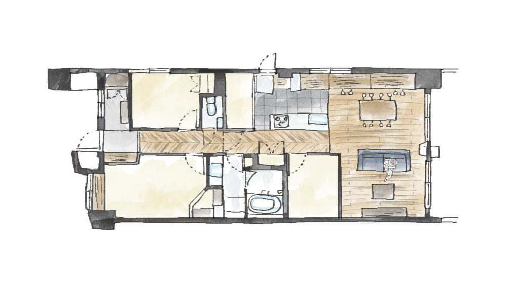 3LDKのマンション間取り図