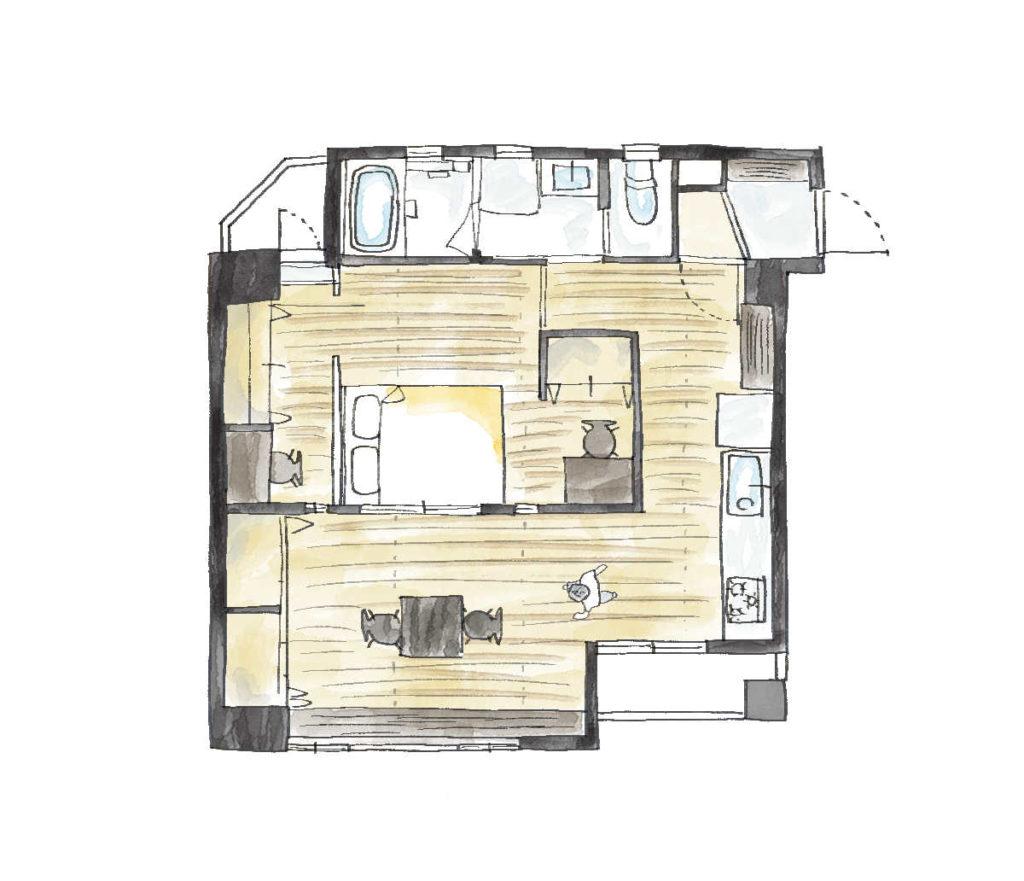 廊下がない家の間取り図1