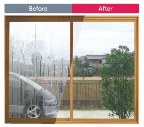 内窓の設置による結露の違い