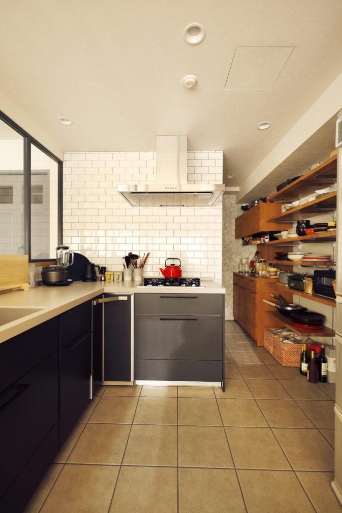 広いL型キッチン