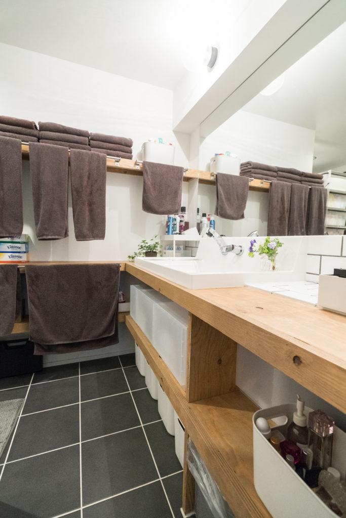 同時に使える造作洗面台